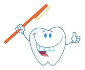微笑的牙刷牙