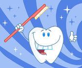 卡通笑脸牙的牙刷