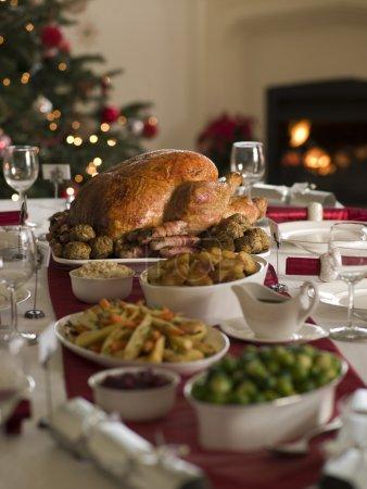 烤的火鸡圣诞蔓延